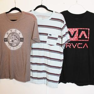 3 RVCA Taupe Striped Black Red Tshirts Lot L